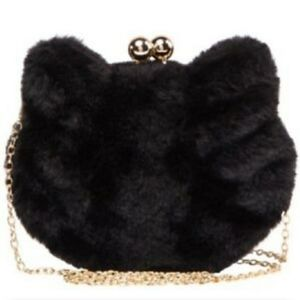 Black Faux Fur Kitty Kat clutch/Crossbody bag🐈